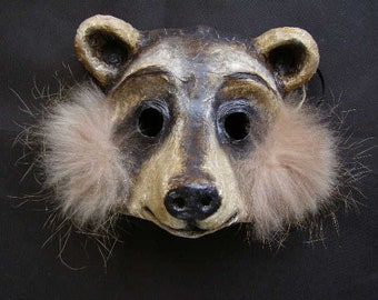 Raccoon mask Masquerade mask Animal mask Paper mache mask Scary mask Adult mask Face mask