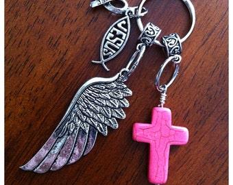 Keychain, Cancer Awareness Keychain, Christian Keychain, Cowgirl Keychain, Cross Keychain, Angel Wing Keychain