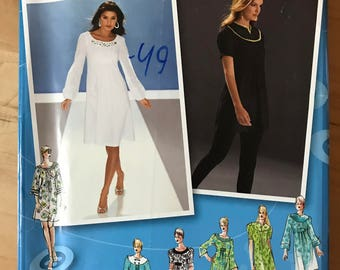 Simplicity 3530 - Project Runway Dress or Tunic with Scoop Neckline or Round Yoke and Tuck or Tab Trim - Size 14 16 18 20 22