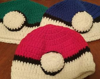 Pokeman Pokeball Crochet Hat