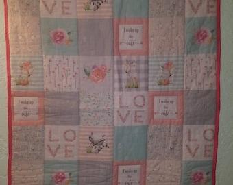 Woodland baby crib quilt