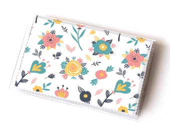 Vinyl Card Holder - Spring Flowers / floral wallet, summer wallet, card case, vinyl wallet, women's wallet, small, handmade, cute wallet