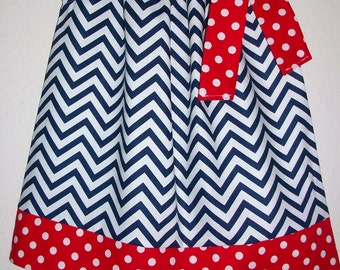 Patriotic Dress Pillowcase Dress Chevron Dress red white & navy 4th of July Dress red white and blue Patriotic outfit Patriotic clothes