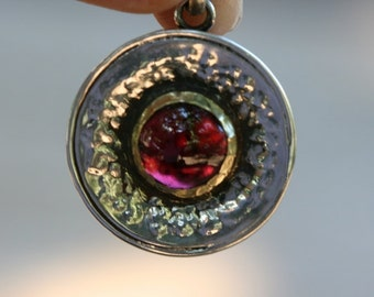 Garnet Pendant , Silver Pendant , Silver Necklace , 925 Sterling Silver  & Gold Pendant