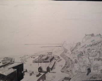 Original A4 drawing of Hastings seafront from the East Hill. Graphite on A4 card.