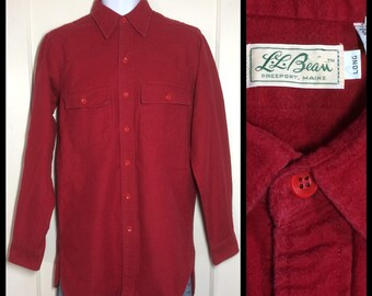 Vintage 1960's LL Bean script label cursive script tag soft cotton Chamois cloth Work Shirt Red size 15 Long Tall Small Medium lumberjack