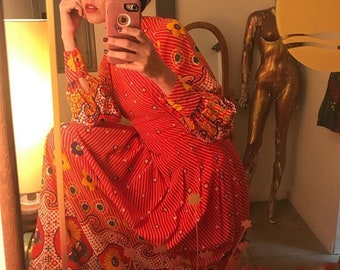 Vintage Psychedelic Red Gown Seventies 1970s Size Small to Medium