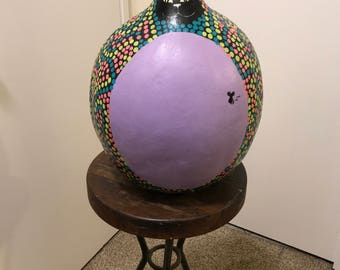 Whimsical Cat Painted Gourd Original Design Only One Made    Would make the Purrrfect Gift for  the Kitty Collector