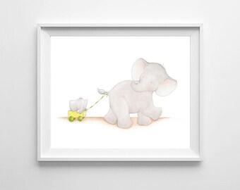 Elephant Nursery Wall Art,Nursery Elephant,Elephant baby Room,Elephant Decor,Elephant Children Art,Elephant kids Room,Elephant Baby Art