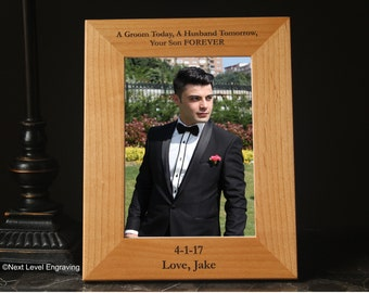 Mother of the Groom Gift from Groom Wedding Parent Gift from Son Personalized Engraved Wood Photo Frame Grooms Mother Gifts, Grooms Parents