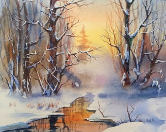 Winter creek. Watercolor