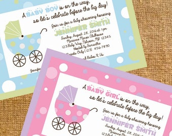 Customized Carriage Baby Shower Invite - Digital File