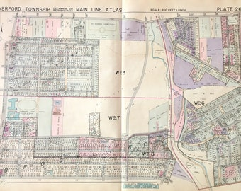 Haverford Township original 1937 Main line Property Atlas Delware County Ardmore