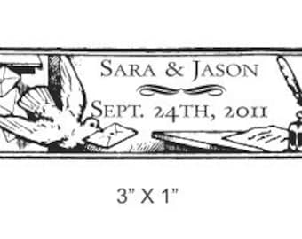 Bird With a Letter Wedding Date Custom Rubber Stamp