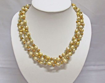 Pearl Necklace -3 Row-19inches-4-8mm, Champagne Freshwater Pearl Necklace- Free shipping