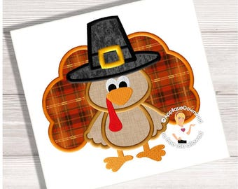 Pilgrim Turkey - Boy Turkey Applique Design - Instant EMAIL With Download - 3 sizes - for Embroidery Machines