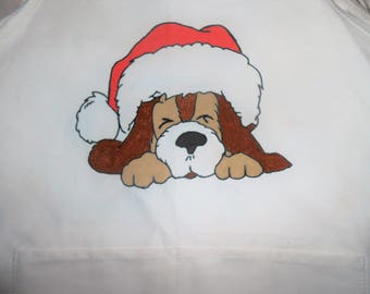 Christmas Puppy Hand Painted Adult Apron