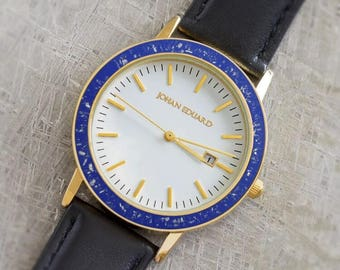 Royal Blue Wristwatch With Gold Colored Stainless Steel, Handmade Meteorite Watch With Black Leather Straps