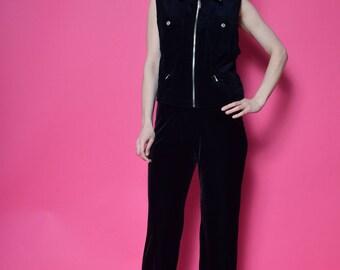 Vintage 90's Black Velvet Vest / Denim Velvet Zipper Top - Size Large