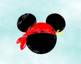 Mickey Pirate SVG, Disney Pirate SVG, Pirate Party Svg, Pirate Mouse Svg, Files for Cricut, Mickey DXF File, Mickey Silhouette dxf