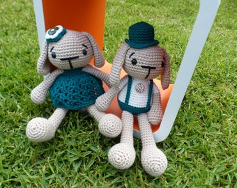 READY TO SHIP-- Beatrix and Benjamin Amigurumi Crochet Toy Pair