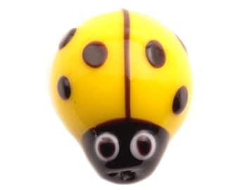 17mm Vintage Czech black overlay yellow ladybird lampwork glass bead