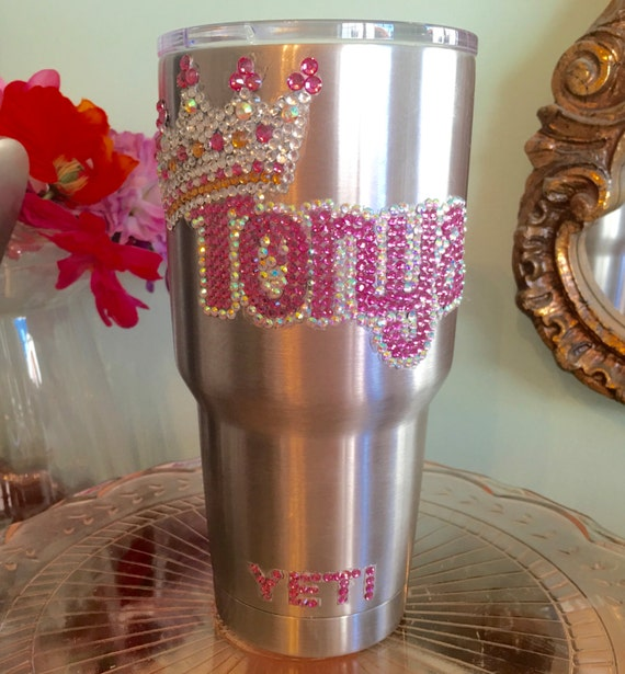 Yeti Rambler 30oz with Rhinestone Name with Crown