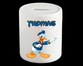 Personalised Donald Duck Piggy Bank, Donald Duck Money Box, cute Donald Duck gift