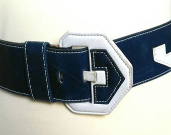 Large vintage blue and white leather belt, geometric pattern leather belt