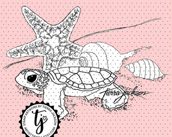 Baby sea turtle - instant download digital stamps by Tierra Jackson