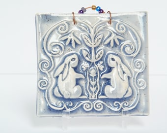 Double Bunny Tile in Periwinkle