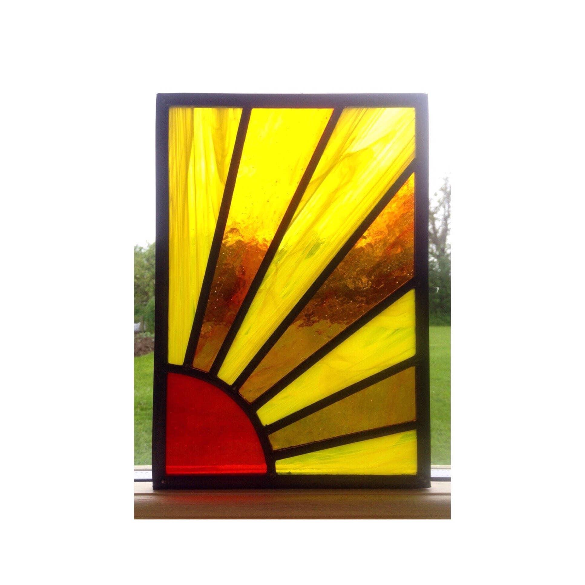 Handmade Stained Glass Sun Window Panel Sun Sunburst Sun Ray