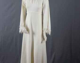 Vintage Wedding Dress Lace cream off white long sleeves mod sixties seventies women size XS extra small