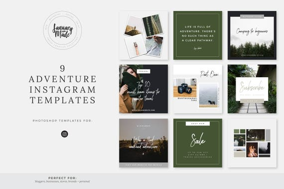 Adventure Instagram Templates Social Media Marketing - Social media post template