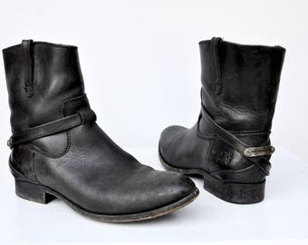 SALE Vintage Frye Ankle Boots - Frye Boots - Black Frye Boots - Pull On Frye Boots - Belted Boots - Boho Distressed Strong Boots size 7 B