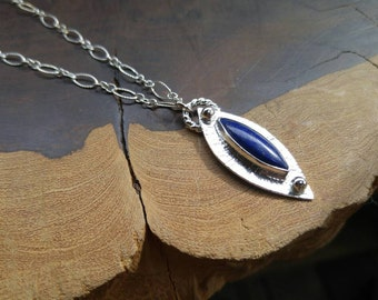 Lapis Lazuli, Handmade, Sterling Silver, Necklace, Long Chain, Textured,