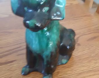 VINTAGE! Black and Gray Glass Poodle Figurine