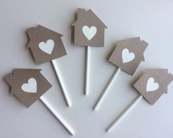 Housewarming Party Cupcake Toppers, Set of 12 House Cupcake Toppers, Home Sweet Home Party