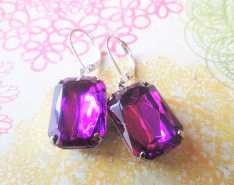 Vintage Purple Dark Amethyst Jewel Dangle Earrings, Old Hollywood Glam, Silver Earrings, Hypoallergenic, Nickel Free