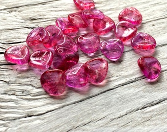 Glass Petal Beads- Czech glass beads, glass rose petal beads fuchsia 8x7mm pack of 20