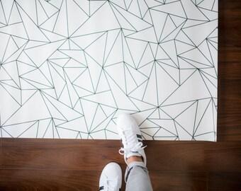 Tapis géométriques Triangles / minimaliste enfants chambre / Monochrome tapis / tapis de cuisine géométrique | Tapis en PVC | Les enfants Decor minimaliste chambre d'enfant