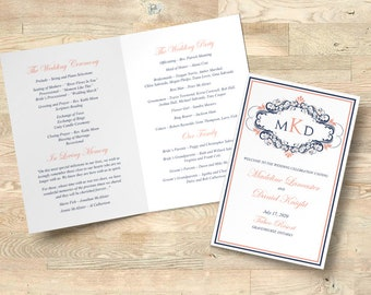 "Wedding Program Printable Folded Booklet Order of Service, Wedding Template Program Timeline INSTANT DOWNLOAD ""Bellami"" Dark Navy Coral"