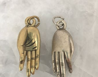 Hand Mudra Charm, Tibetan Brass 40mm, Yoga, Charm ONLY, Pendant, Solid Brass OR Silver Plate, Ethnic, Tribal, Amulet, Necklace