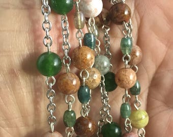 Jade and Agate long necklace