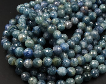 """A Grade Genuine Natural Blue Sapphire Faceted 7mm 8mm 10mm Round Beads Organic 100% Natural Gemstone 16"""" Strand"""