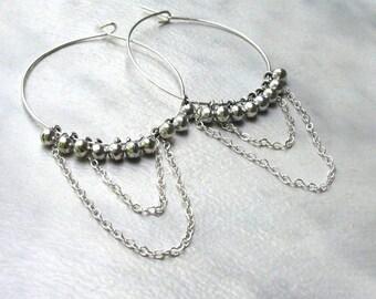 Large Silver Chained Hoops, Ball & Chain Hoop Earrings, Handmade Wire Hoops... Boho Gypsy Jewelry, Hippie Hoops