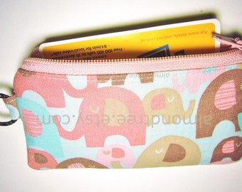 Cute sweet pink elephant, card holder, coin purse, id1340073, women wallet, portefeuille, zipper pouch
