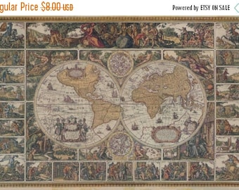 Old world map etsy old world map cross stitch pattern pdf vintage map pattern point de croix korss 496 gumiabroncs Choice Image