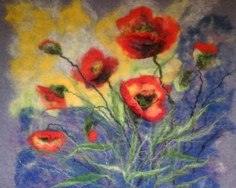 Wool picture, Night Poppies, 3D Felted picture, wool painting, wool art, home decoration, red flowers, gifts ideas, for mom, Mother's day