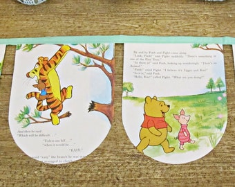 Winnie The Pooh Nursery Bunting - Green Birthday Party Supplies Banner Garland - Homewares For Kids Children AA Milne - Decor Decoration
